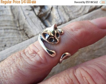 ON SALE Adjustable cat ring in sterling silver