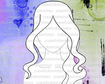 Mixed Media Templates ~ Wavy Central Parting Portrait - Paperbabe Stamps - For mixed media, paper crafting and scrapbooking.