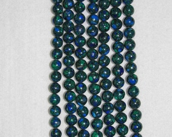 Azurite, Malachite, Azurite Malachite, Smooth Bead, Semi Precious, Natural Stone, Gemstone Bead, Half Strand, 10 mm, AdrianasBeads