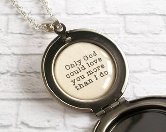 Only God Could Love You More Than I Do Quote Locket Necklace Blush Pink Rose Pendant Christian Jewelry
