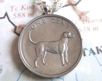 Dog Coin Cook Islands Labrador Retriever One Cent Silver Coin Pendant Necklace