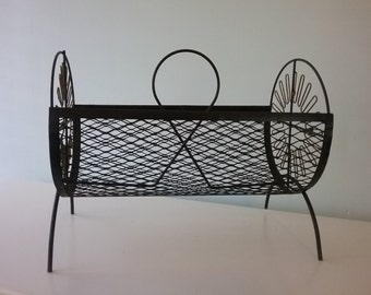 Magazine Rack, Mid century vintage mesh, metal record rack,