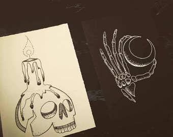 Skeleton moon and Skull candle - Set of two 4x6 Blackwork Tattoo flash pieces