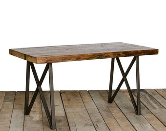 "Loft dining Table with 1.65"" reclaimed wood top and our modern monarch style legs"