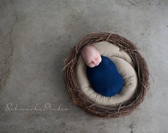 Newborn Wrap, Stretchy Wrap, Newborn Wrap, Navy Blue Cocoon Wrap, Stretchy Knit Wrap, Baby Boy Photo Prop, Newborn Props, RTS
