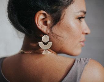 INDU Brass Statement Earrings / Geometric Modern Shapes Earrings