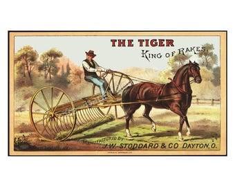 Antique Horse Hay Rake Trade Card, 4 x 7, Farm and Country Ephemera, 1890 Advertising Print, Plow Implement Art Paper, Victorian Era, 16-19