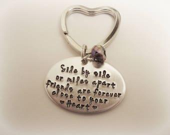 Friend Keychain, Best Friend, Hand Stamped Keychain, Personalized Keychain,  Long Distance Friend, Moving Gift