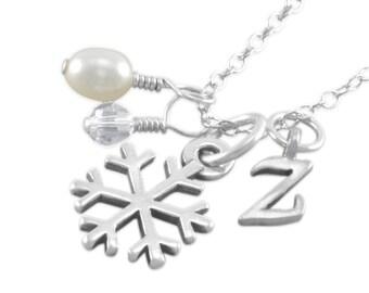 Snowflake Necklace, Sterling Silver, Frozen, little girl gift, white pearl charm, teen jewelry, winter weddings, flower girl gifts ZAYLA