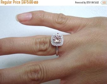 ON SALE 0.91 Carat Morganite Engagement Ring, Wedding Ring 14K White Gold Certified Pave Halo Handmade