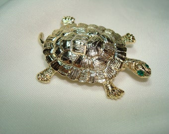 GERRYS Vintage Golden Box Turtle Pin with Green Jeweled Eyes.