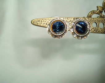 1994 Silver Rhinestone Rondells with Sparkling Sapphire Blue Jeweled Center Earrings.