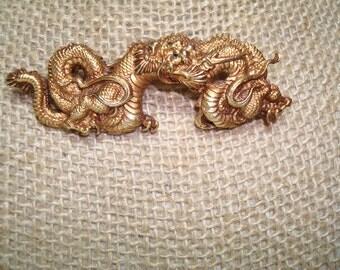 1960s ALVA Museum Menuki Japanese Serpent Food Dragons Pin.