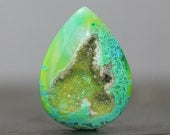 Green Stone Cabochon Drusy Gem, Flat Back Polished Gemstone with Natural Crystal Matrix (20314)