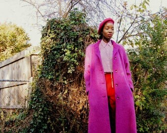 Fuschia full length mohair/alpaca princess coat 1990s 90s VINTAGE