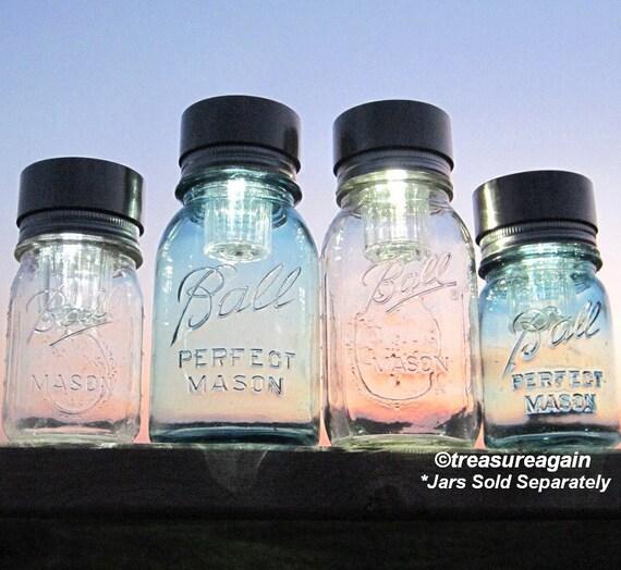 Mason Jar Solar Lids 4 Ball Jar Mason Jar Lights, Outdoor Garden Wedding Lighting, Handmade Upcycled Solar Lid Only, No Jars