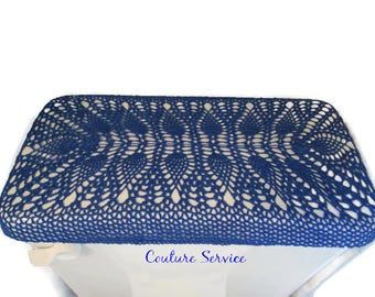 Crocheted Tank   Lid Cover  Pineapple Lace  Cotton  Royal Blue  Toilet SeatToilet Seat Cover Lid Cover for Toilet Seat Cover for. Royal Blue Toilet Seat. Home Design Ideas