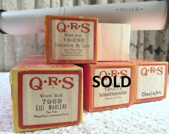 Vintage Popular Hits QRS Word Piano Rolls - YOUR CHOICE - Shipping Included in Price