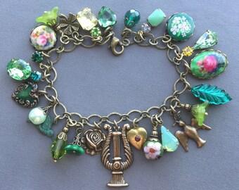 Charm Bracelet - Green Bracelet - Victorian Jewelry - Rhinestone Bracelet - Victorian Bracelet - Green Jewelry - Romantic Jewelry - Bracelet