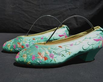 Vintage chinese hand embroidered silk shoes small collectibles antique chinese textiles by thekaliman