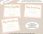Pink Gold Stars Baby Shower Bookplate Labels, girl baby shower book plate stickers, baby's first library, build a library shower
