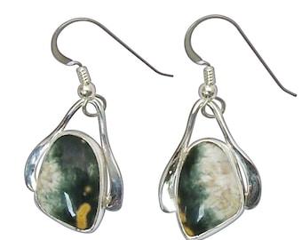 Ocean Jasper and Sterling Silver Dangle Earrings eocjd2761