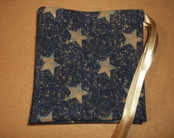 Navy Blue/Star Print  drawstring gift/treat/goody/storage bags