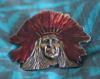 Native American Chief with Headdress Belt Buckle Brass