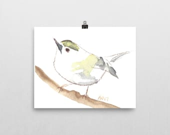 Finch on Branch, 8x10 print of original watercolor painting