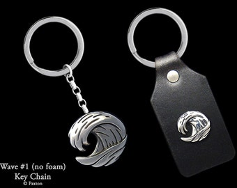 Ocean Wave Keychain / Keyring all Sterling Silver or Wave on Genuine Leather Key Fob