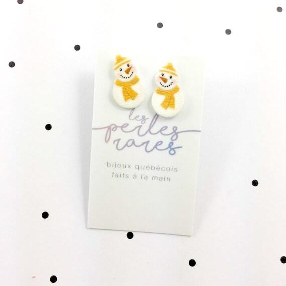 yellow snowman, snowman earring, yellow scarf, winter snowman, earring, print on plastic, stainless stud, handmade, les perles rares