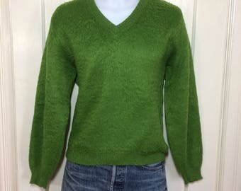 Vintage 1960's acid green acrylic Mohair Pullover V neck Sweater looks size Small Fuzzy punk mod grunge