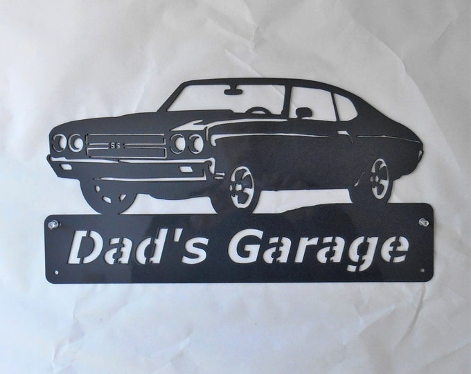 Personalized Metal Sign- Man Cave- Classic -1970 Chevelle- Muscle Car -Garage Sign -Custom Colors