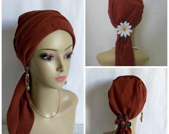 "Scarf Turban Deep Rust Gauze Volumizer Chemo Headwear 16"" Ties, Cancer Patient Hat, Beach Hair Covering 16""Ties, Tichel Mitpachat Head Wrap"