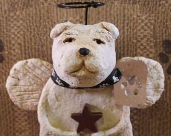 English Bulldog Angel,OOAK, handmade from papier mache,White Bulldog