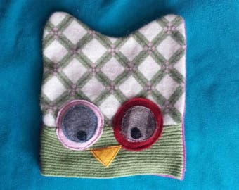 Recycled Felted Wool Owl Kids Hat