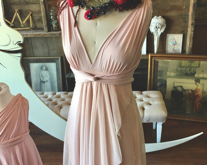 Whimsical Rose Gold with Peach Tulle Tulip Petal Cut infinity Wrap Dress~ Formal, Wedding Gown, Bridesmaids, Maternity friendly, plus siz