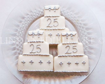 25th Anniversary Cake Cookies   1 Dozen (12)