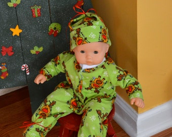 SALE - 15 Inch Baby Doll Clothes One Piece Flannel Footed Sleeper and Cap by SEWSWEETDAISY