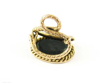 SALE. Victorian Snake Seal Engraved Charlotte, 15ct Gold & Bloodstone Fob. Circa 1860s, 15k Yellow Gold.