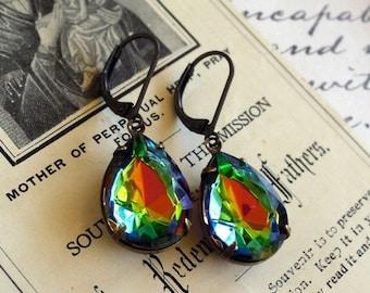 On Sale Wild Vitrail, Estate Style Pear Shaped Rainbow Glass Jewel Earrings
