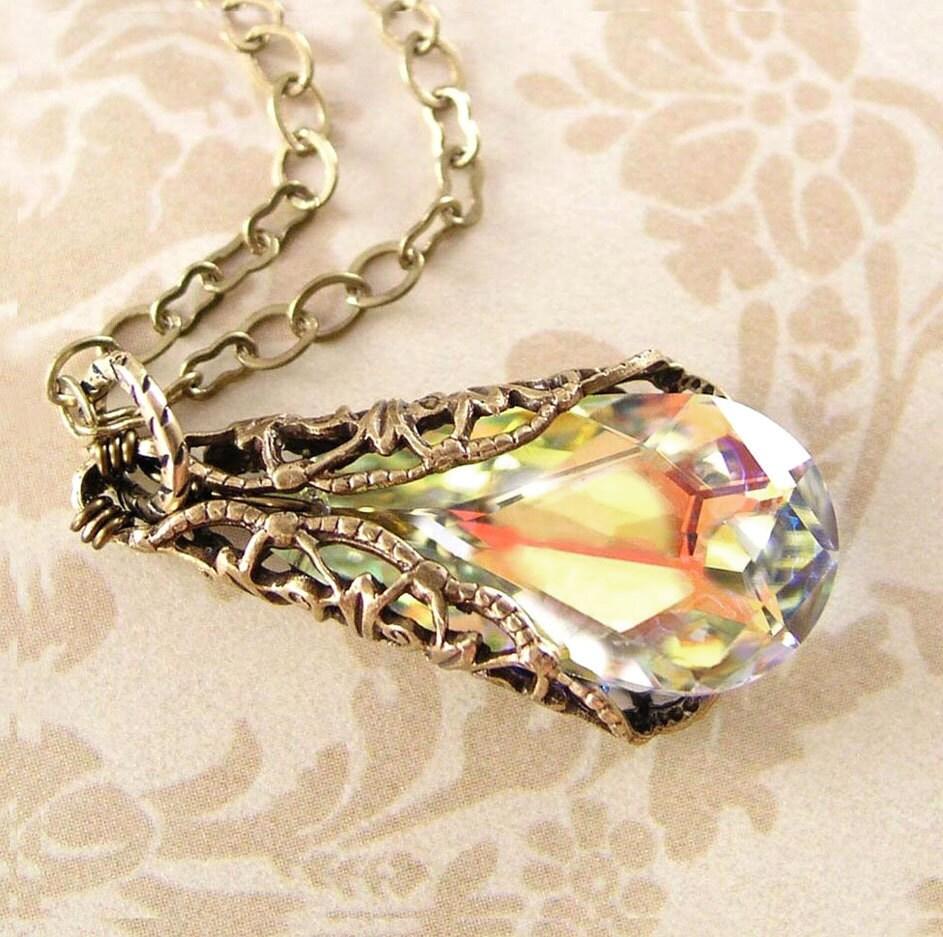 Clear Crystal Necklace Swarovski Aurora Borealis Crystal
