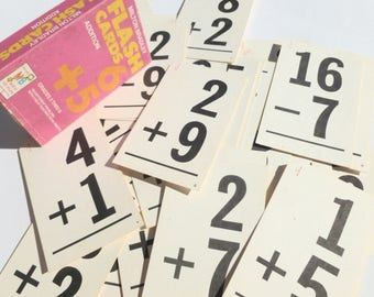 Math Flash Cards Addition and Subtraction by Milton Bradley Vintage 1975 Edition Altered Art Craft Supplies Wedding Table NumberMarkers