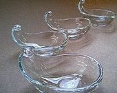 Tiny Glass Dishes-Set of Four Vintage Clear Glass Tear Drop Shaped Hand Blown Glass Bowls-Bridge Nut Bowl Set-Ashtray Set-Candy Bowl Set