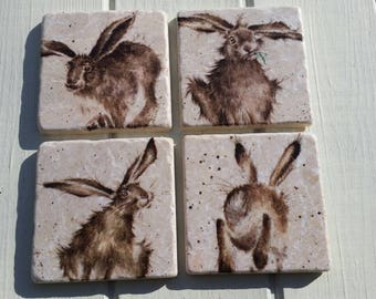 Country Hare Stone Coaster Set of 4 Tea Coffee Beer Coasters