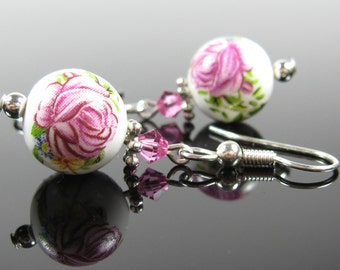 Pink rose earrings, surgical steel earrings, nickel free, beaded earrings, silver dangle, bridesmaids earrings, pink crystal dangle earring