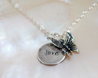 Butterfly Love Silver Necklace / Sterling Silver Necklace /Butterfly Charm Necklace / Sterling Silver Butterfly