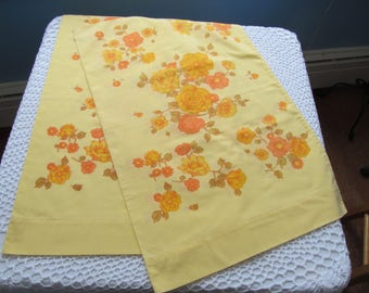 Vintage Pillowcase Pair BrightYellow Orange Floral Spring Colors Standard Size Set of 2 Pillowcases