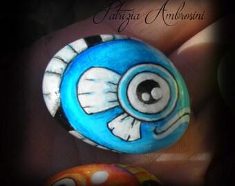 FISH No.3 -  Handpainted, sea gift, blue, rock painting, painted stone, miniature, painted rock, pebble, fine art
