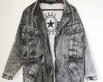 IZZI VINTAGE Oversized Mens Acid Denim Jacket